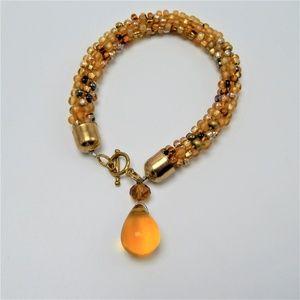 Amber  Drop Beaded Bracelet Toggle